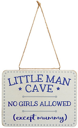 Blue Little Man Cave Plaque 16cm