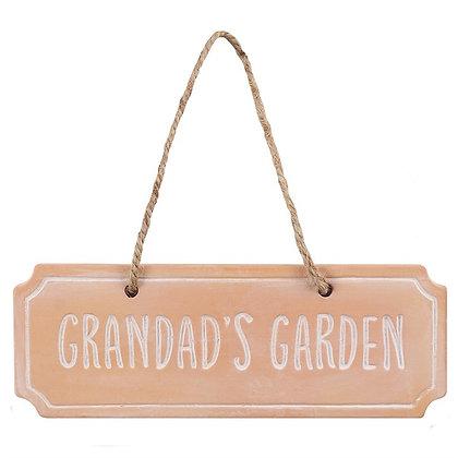 GRANDAD'S GARDEN TERRACOTTA HANGING SIGN