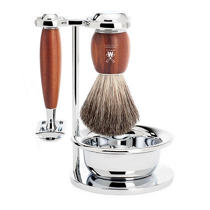 MÜHLE VIVO, Plumwood 4-piece Pure Badger / Safety Razor Shaving Set