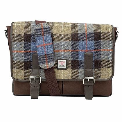Harris Tweed Messenger Bag Blue / Brown Check