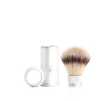 MÜHLE TRAVEL, SIlver Anodised Aluminum Silvertip Fibre Shaving Brush