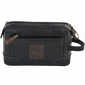 Ashwood Heritage Black Leather Washbag