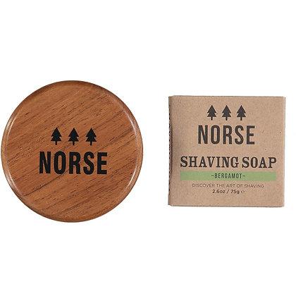 NORSE Acacia Wood Shaving Bowl with Bergamot Shaving Soap