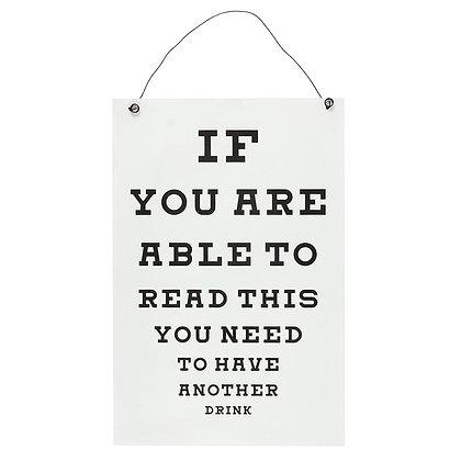 Bar Eye Chart Hanging Sign