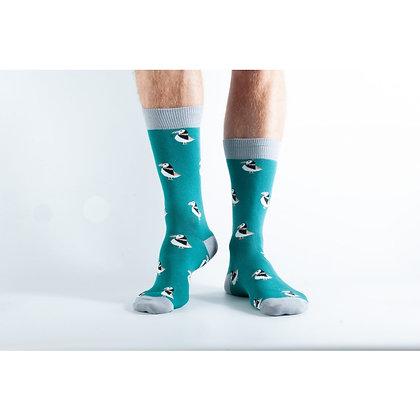 Doris & Dude Green Puffin Socks
