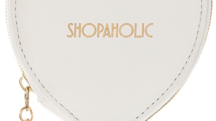 Shopaholic White Heart Purse