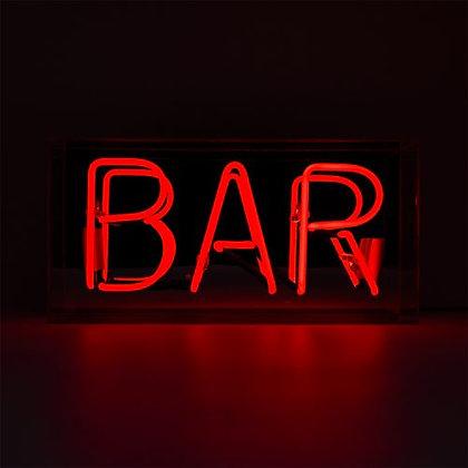 Red 'Bar' Acrylic Box Neon Light