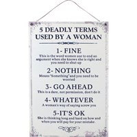 Five deadly terms sign