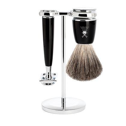 Muhle Rymto, Black 3-Piece Pure Badger / Safety Razor Shaving Set