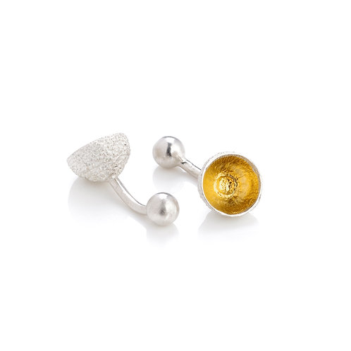 Sterling Silver with 24ct Gold Keum Boo Detail Acorn Cup Cufflinks