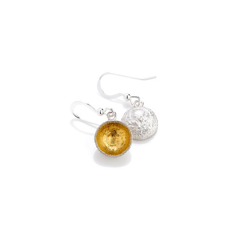 Sterling Silver with 24ct Gold Keum Boo Detail Acorn Cup Earrings