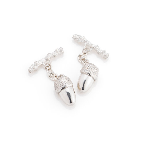 Sterling Silver Half Acorn Cufflinks