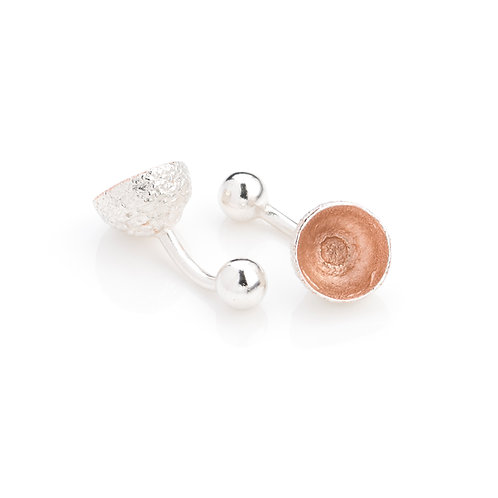 Sterling Silver with Rose Gold Plated Acorn Cup Cufflinks