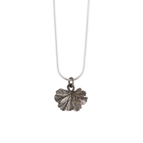 Black Rhodium Plated Geranium Leaf Necklace