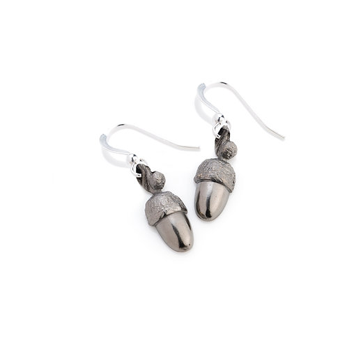 Black Rhodium Plated Acorn Earrings