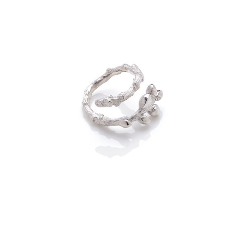 Sterling Silver Single Bud Adjustable Ring