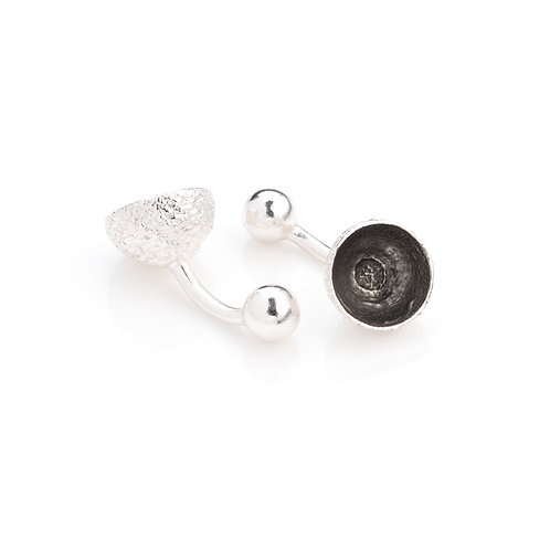 Sterling Silver with Black Rhodium Plated Acorn Cup Cufflinks