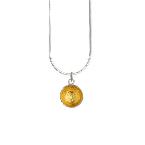 24ct Gold Keum Boo Detail Acorn Cup Necklace