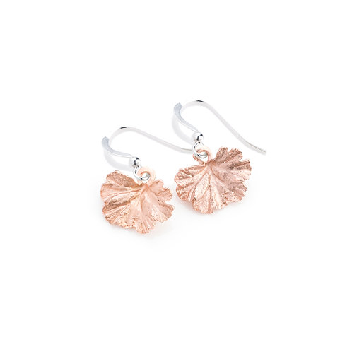 Rose Gold Plated Geranium Leaf Earrings