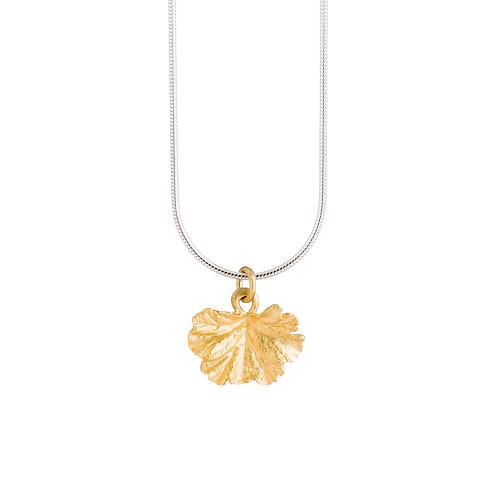 24ct Gold Plated Geranium Leaf Necklace