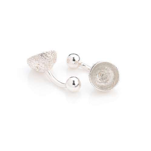 Sterling Silver Acorn Cup Cufflinks
