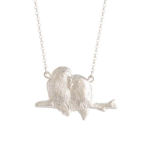 Sterling Silver Lovebirds Necklace