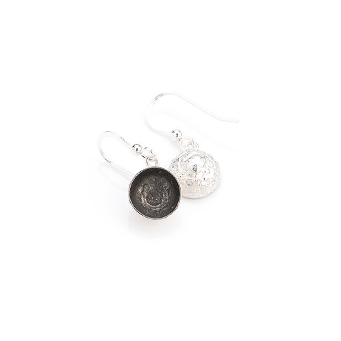 Sterling Silver with Black Rhodium Plated Acorn Cup Earrings