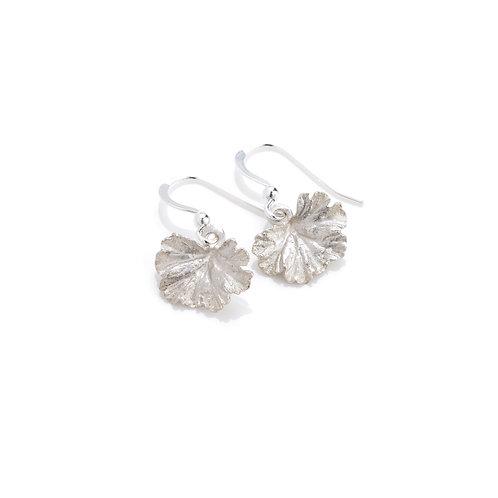 Sterling Silver Geranium Leaf Earrings