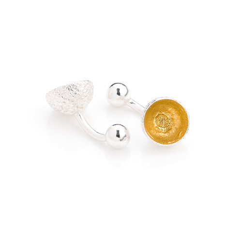 Sterling Silver with 24ct Gold Plated Acorn Cup Cufflinks