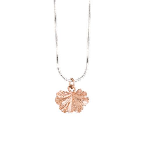 Rose Gold Plated Geranium Leaf Necklace