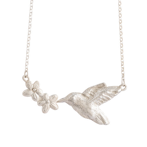 Sterling Silver Hummingbird & Flowers Necklace