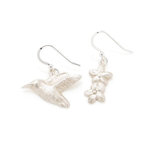 Sterling Silver Hummingbird & Flowers Mis-match Earrings