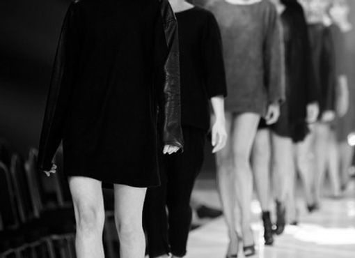UK fashion catwalk black and white photography