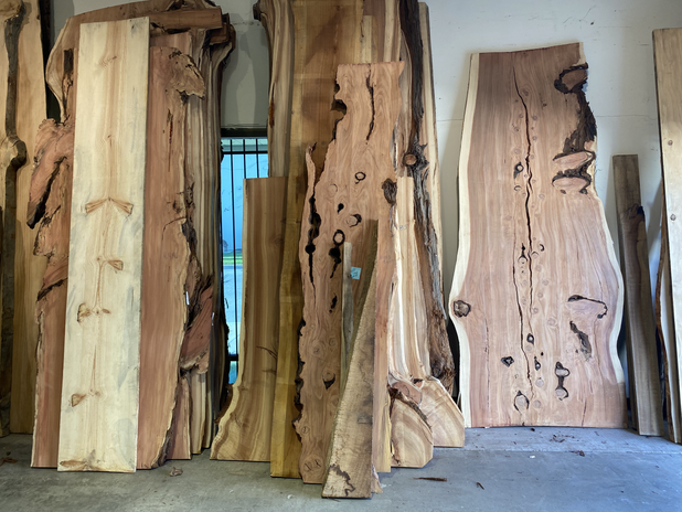 Slabs of Redwood at our Supplier's Warehouse