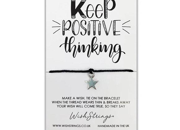 Keep Positive Thinking silver charm bracelet