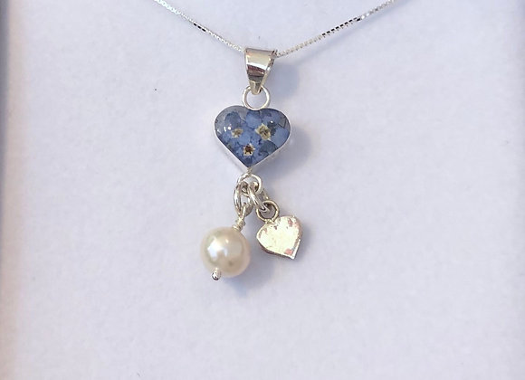 Forget-Me-Not Heart Pendant with Pearl and silver heart