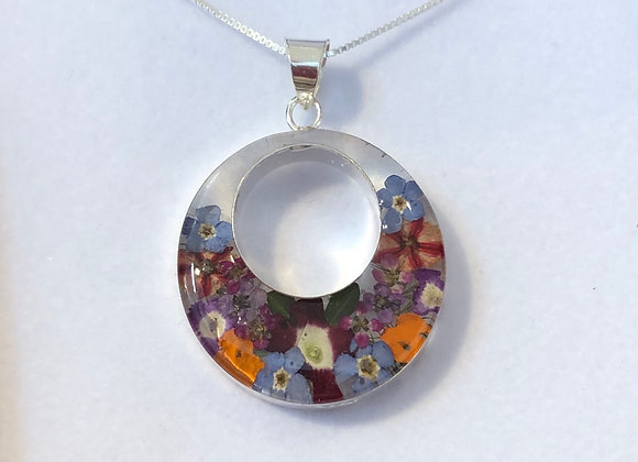 Mixed Flower Silver Necklace