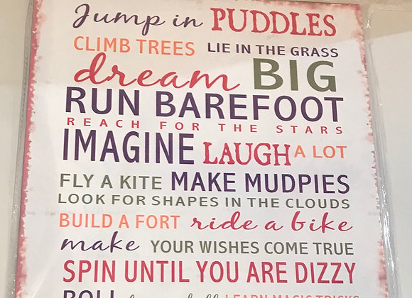 Jump in Puddles Metal Sign