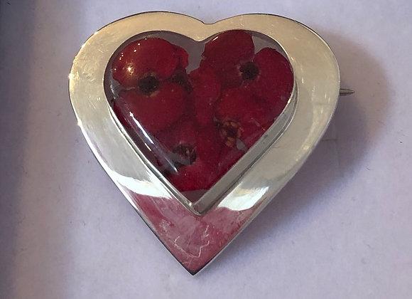 Poppy Silver Heart Brooch