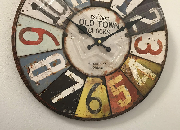 Vintage Look Retro Number Clock