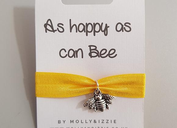 Bee Charm Ribbon Bracelet