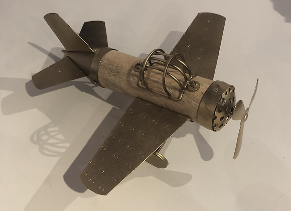 Wood and Metal Plane Ornament
