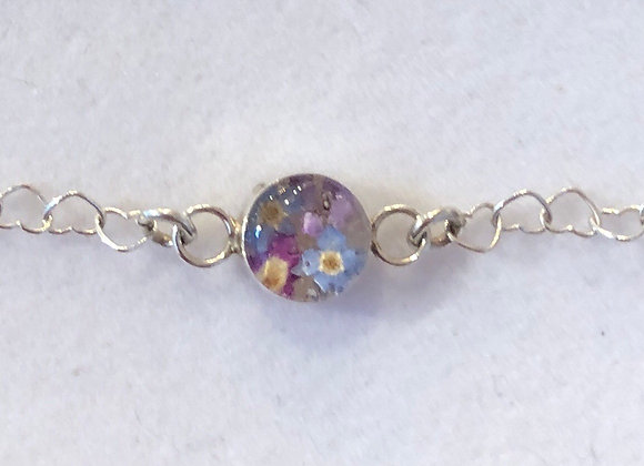 Purple Flower Silver Heart Link Bracelet
