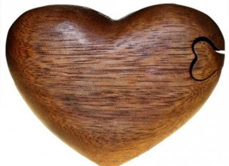 Heart Shaped Wooden Puzzle Box