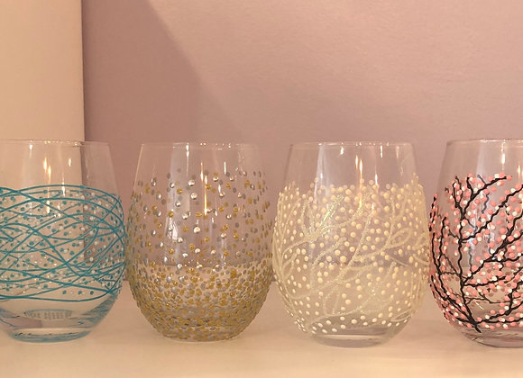 Hand Decorated Stemless Wine Glass Tumbler