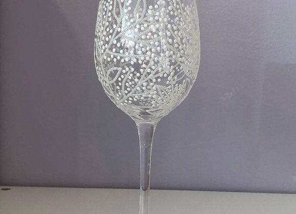 Hand Decorated Wine Glass