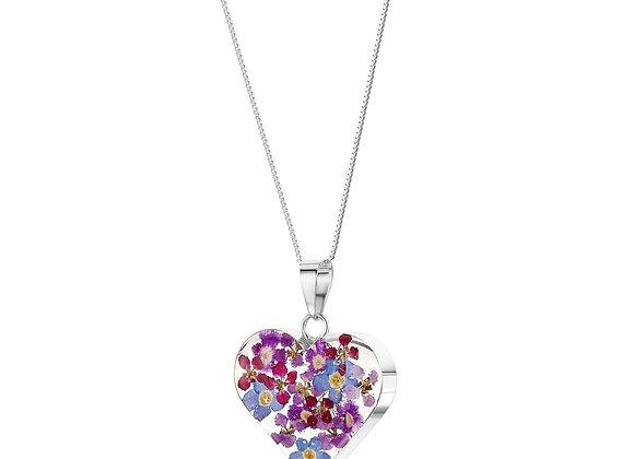 Purple Mixed Flower Silver Heart Pendant