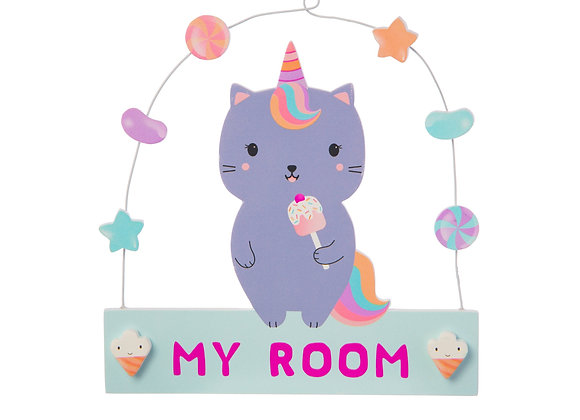 Caticorn Hanging Door Plaque