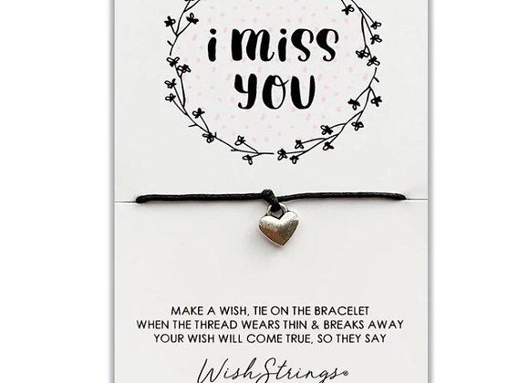 I Miss You Silver Charm Bracelet