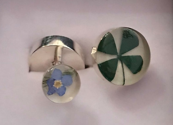 Four Leaf Clover and Forget-me-not Silver Cufflinks